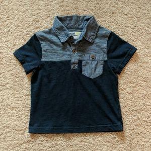 Toddler boys polo pocket tee top navy blue 2T